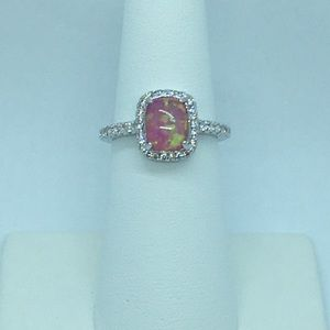 Jewelry - Pink Fire Opal Platinum Plated Silver